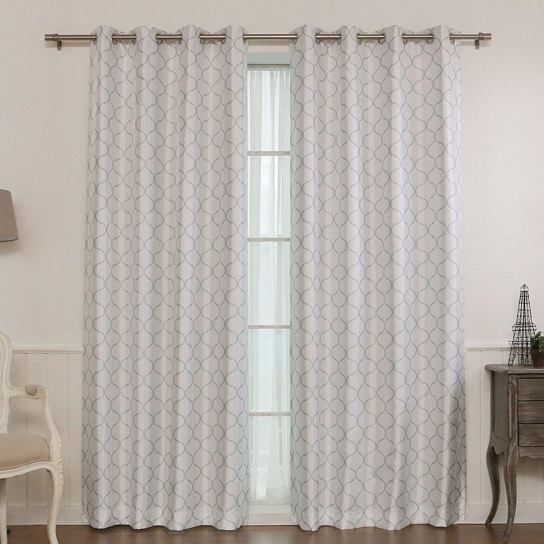 Best Home Fashion Reverse Quatrefoil Print Faux Silk Blackout Curtain Stainless Steel Nickel Grommet Top