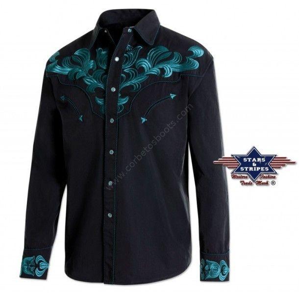 90f79bd6cc Compra en nuestra tienda online esta camisa rockera de manga larga con  auténticos bordados vaqueros en azul