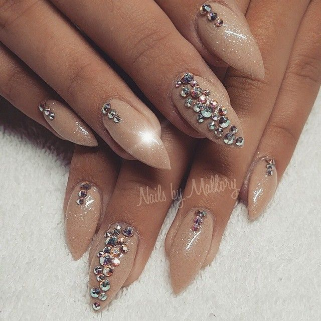 Nude nails with bling. | Beauty | Pinterest | Nude nails, Bling and Nude