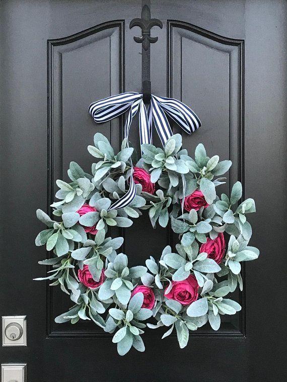 Photo of Lamb's Ear Wreath, Pink Cabbage Rose Wreath, Shabby Chic Decor, Lamb's Ear Decor…
