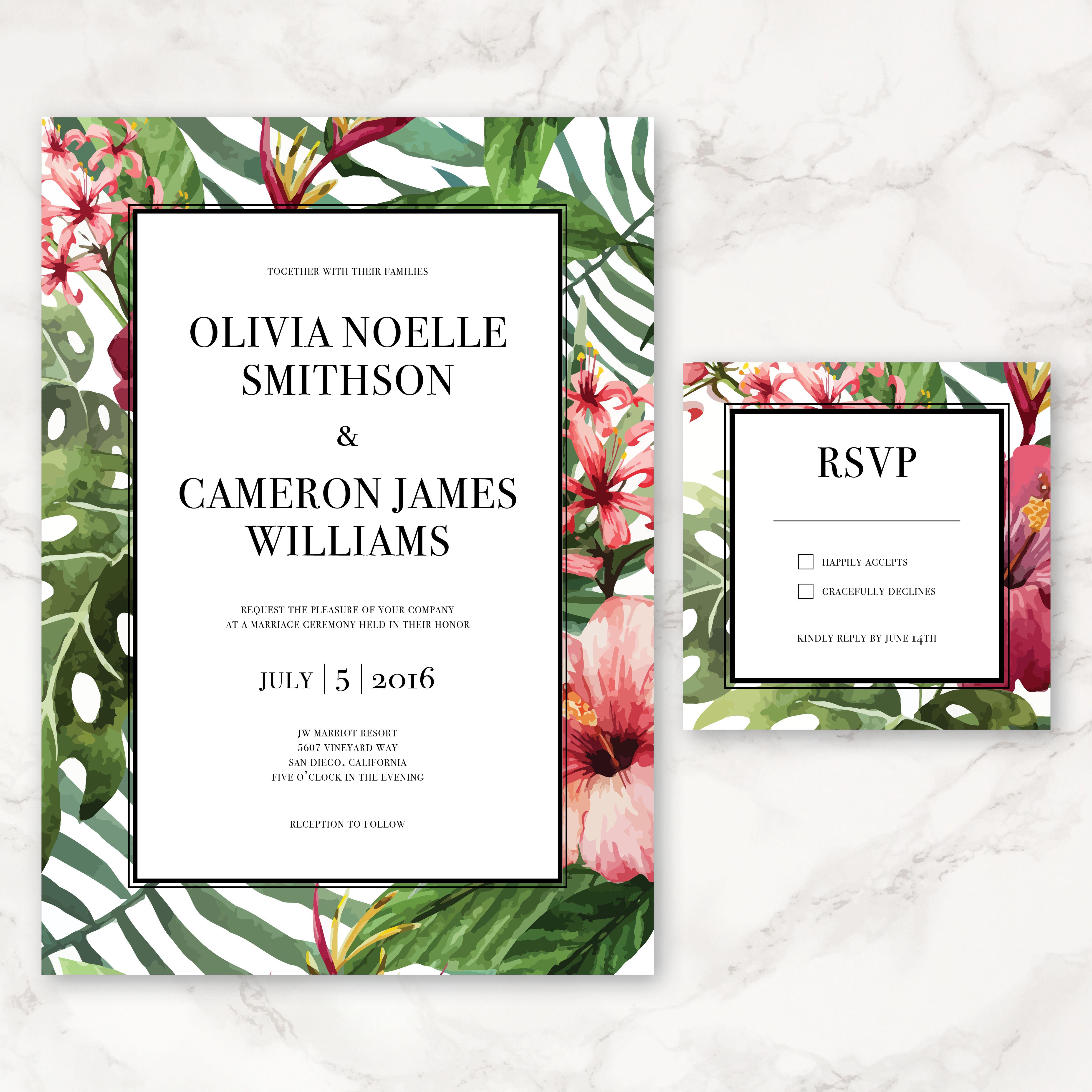 Printable Wedding Invitation - Watercolor Tropical Flowers - DIY ...