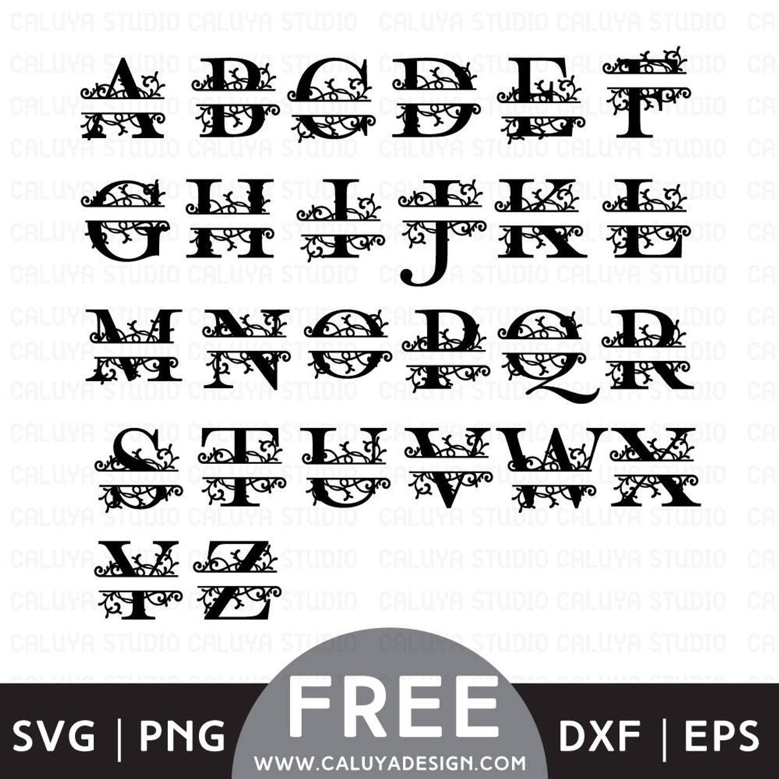 Download FREE SVG & PNG Link | Split Monogram Files, svg, png, dxf ...