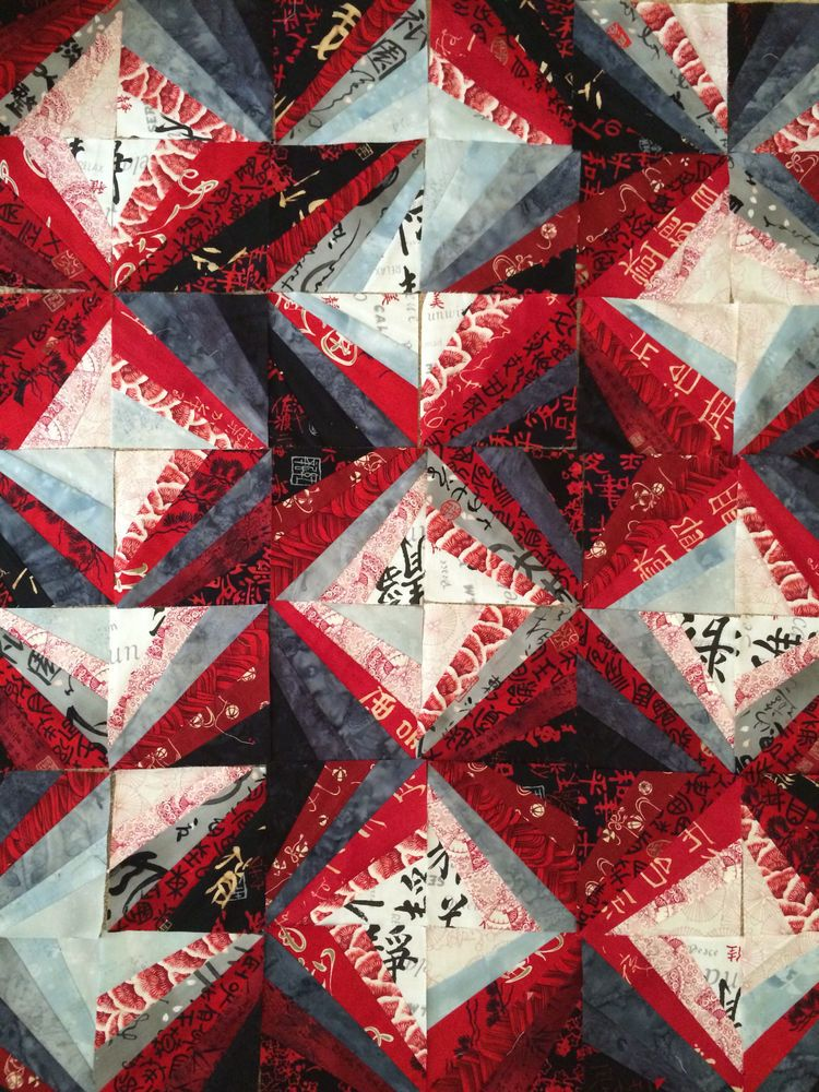 "Quilt Top Blocks 36""x42"" + Scraps Japanese Asian Oriental fabrics 100% cotton #Multiple #AsianOrientalJapanese"