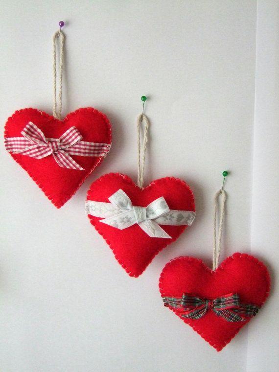 Christmas Tree Decorations, Felt Hearts Set of 3, Christmas Tree ...