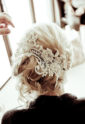 A piece of lace in your hair makes a big statement on your big day!