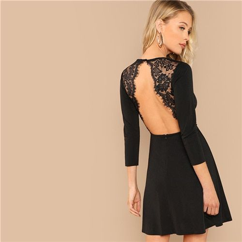 daef790600 Shein Black Elegant Party Lace Contrast Backless Natural Waist Long Sleeve Solid  Dress 2018 Autumn Workwear Women Dresses