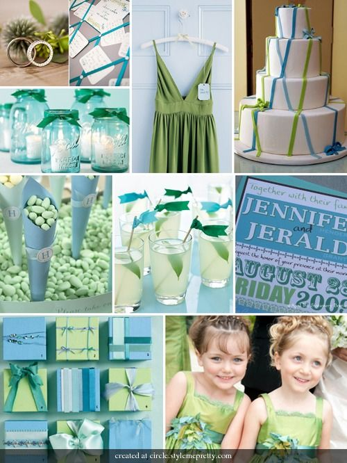 Inspiration Board For Spring Or Summer With Blue And Green