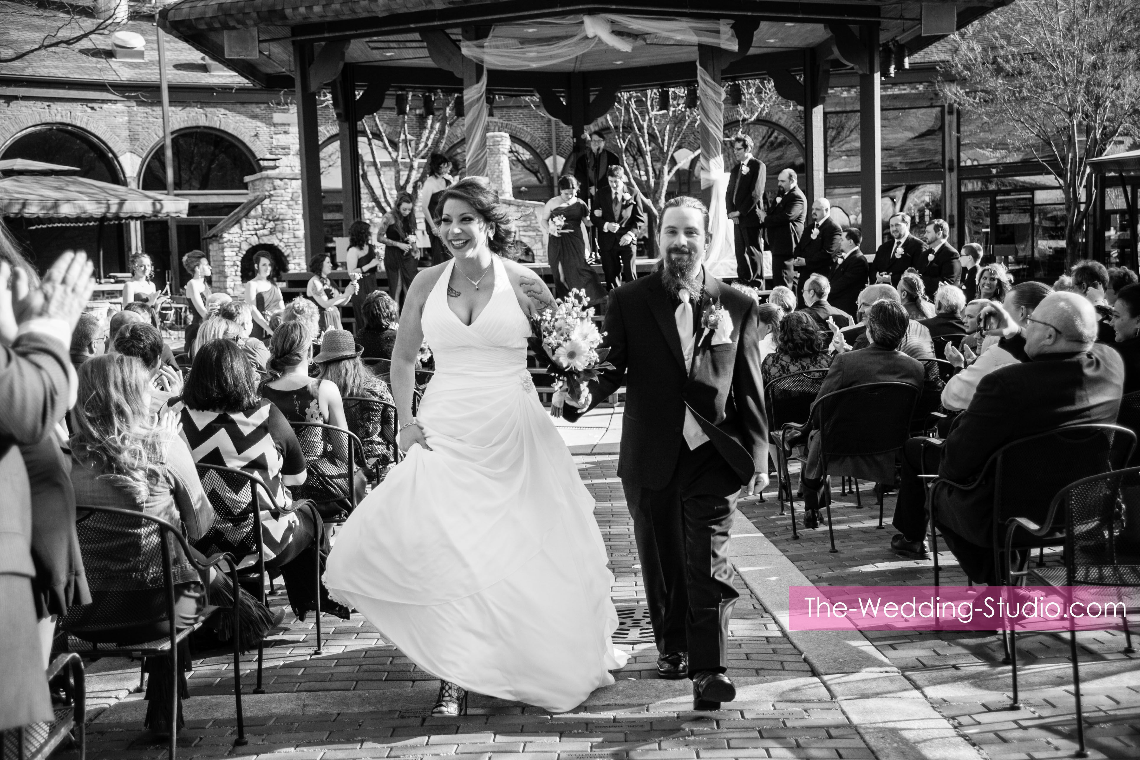 JUST MARRIED! Outdoor ceremony site during a Spring