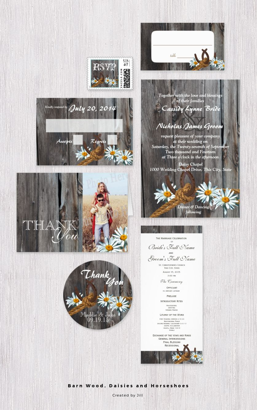 Country barn wood, daisies and horseshoes wedding invitation set to ...