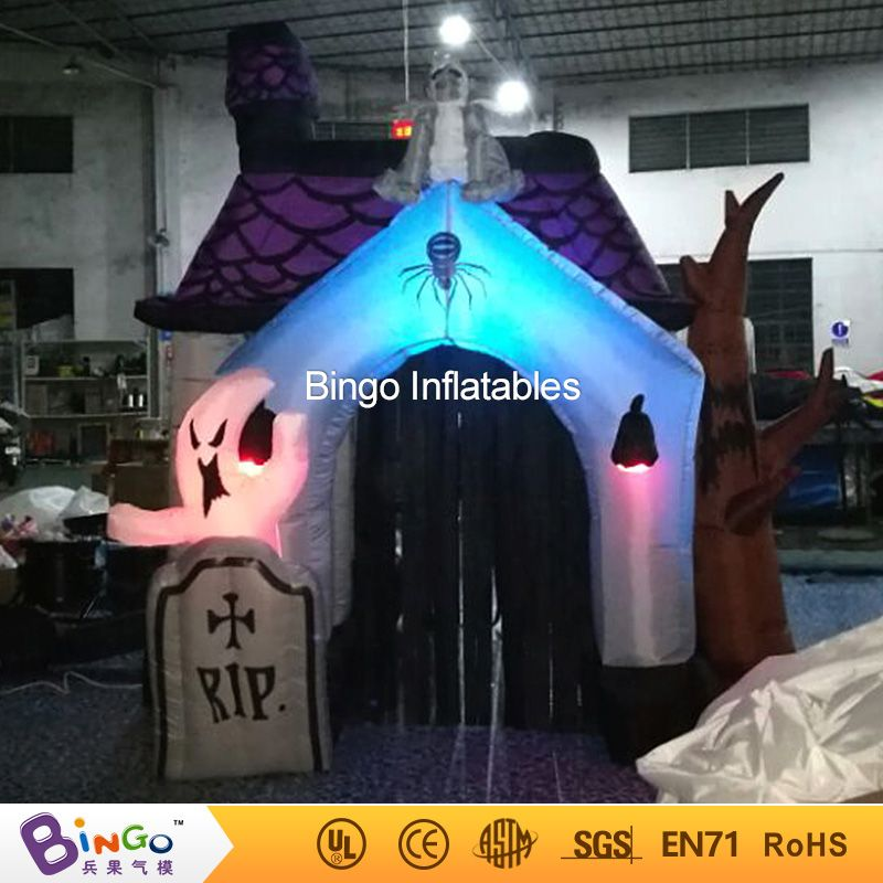 3M 10ft halloween inflatable Haunted House with led lighting for - halloween inflatable decorations