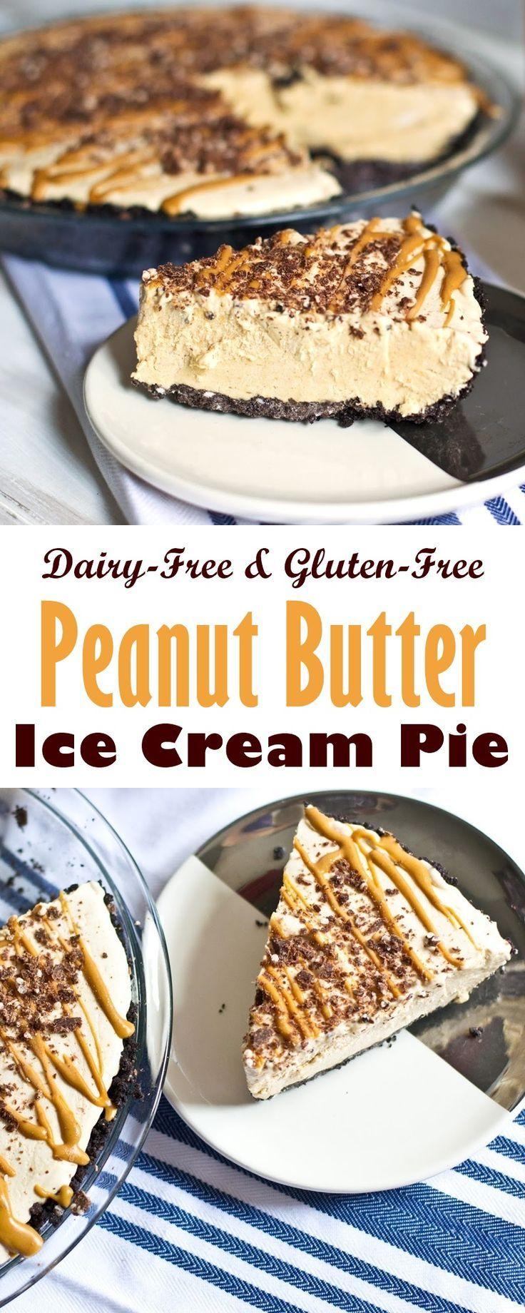 DairyFree Peanut Butter Ice Cream Pie with Chocolate