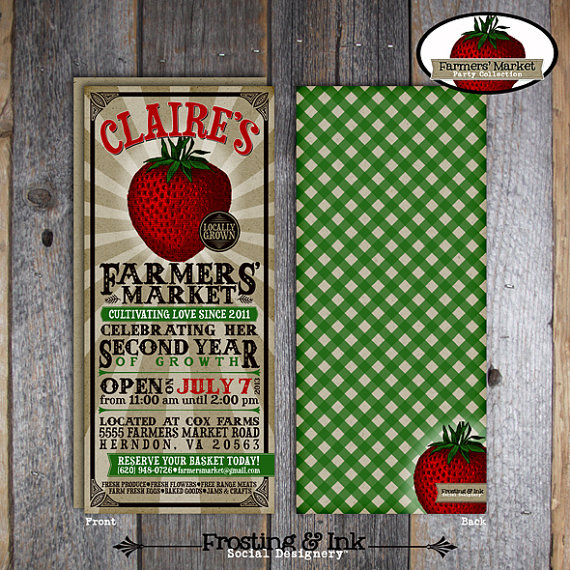 Farmersu0027 Market Invitation Farmers Market Invite Strawberry Farm - fresh birthday party invitation ideas wording
