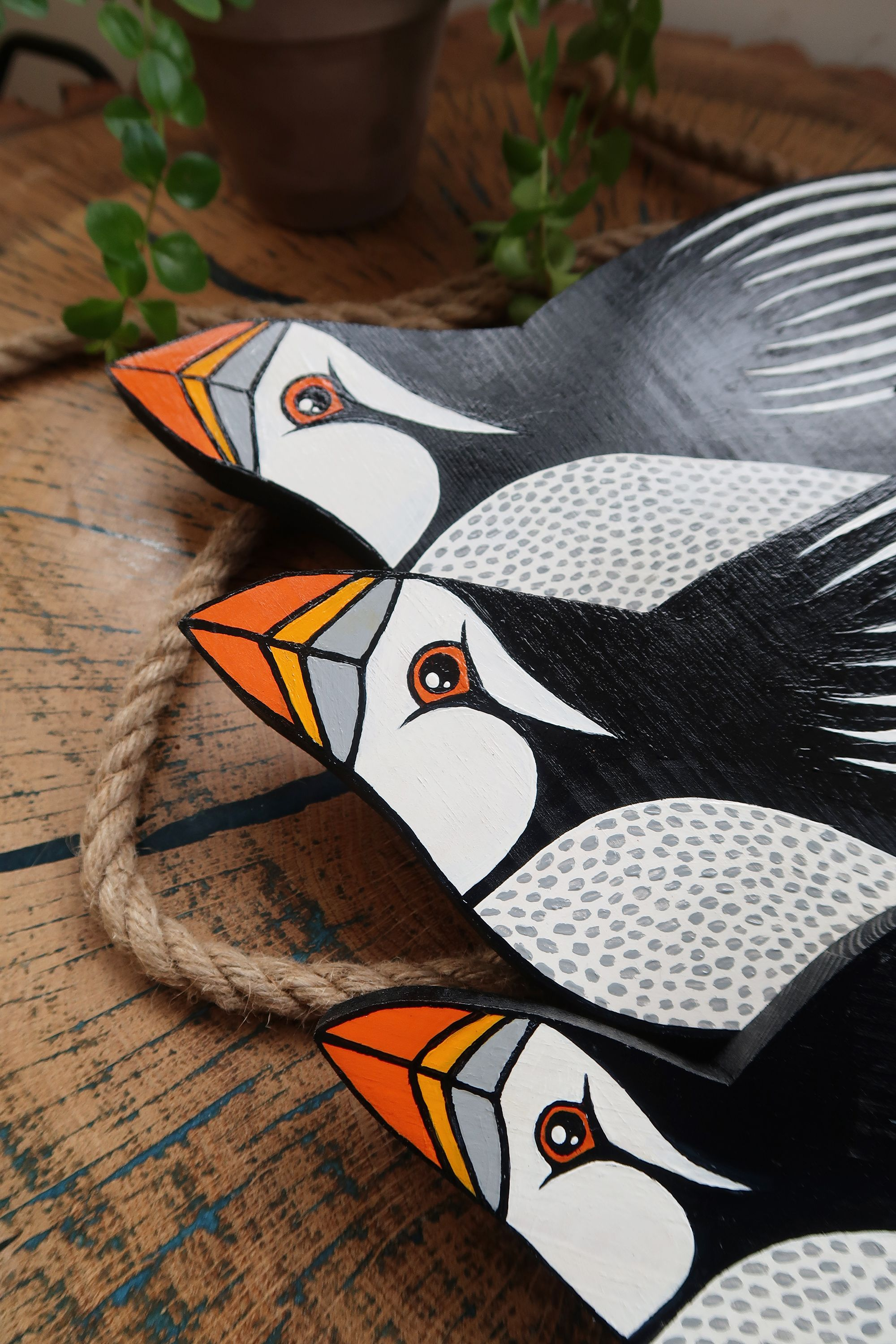 Puffin Bird Wall Decor Decoration Ornament Wooden Hand Painted Black And White Home Interiors Wooden Hand Bird Wall Decor Hand Painted
