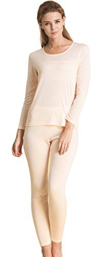 f53d174497 Introducing Womens Luxury Silk Long Johns Pajamas Sets Low Crewneck Nude M.  It is a great product and follow us for more updates!
