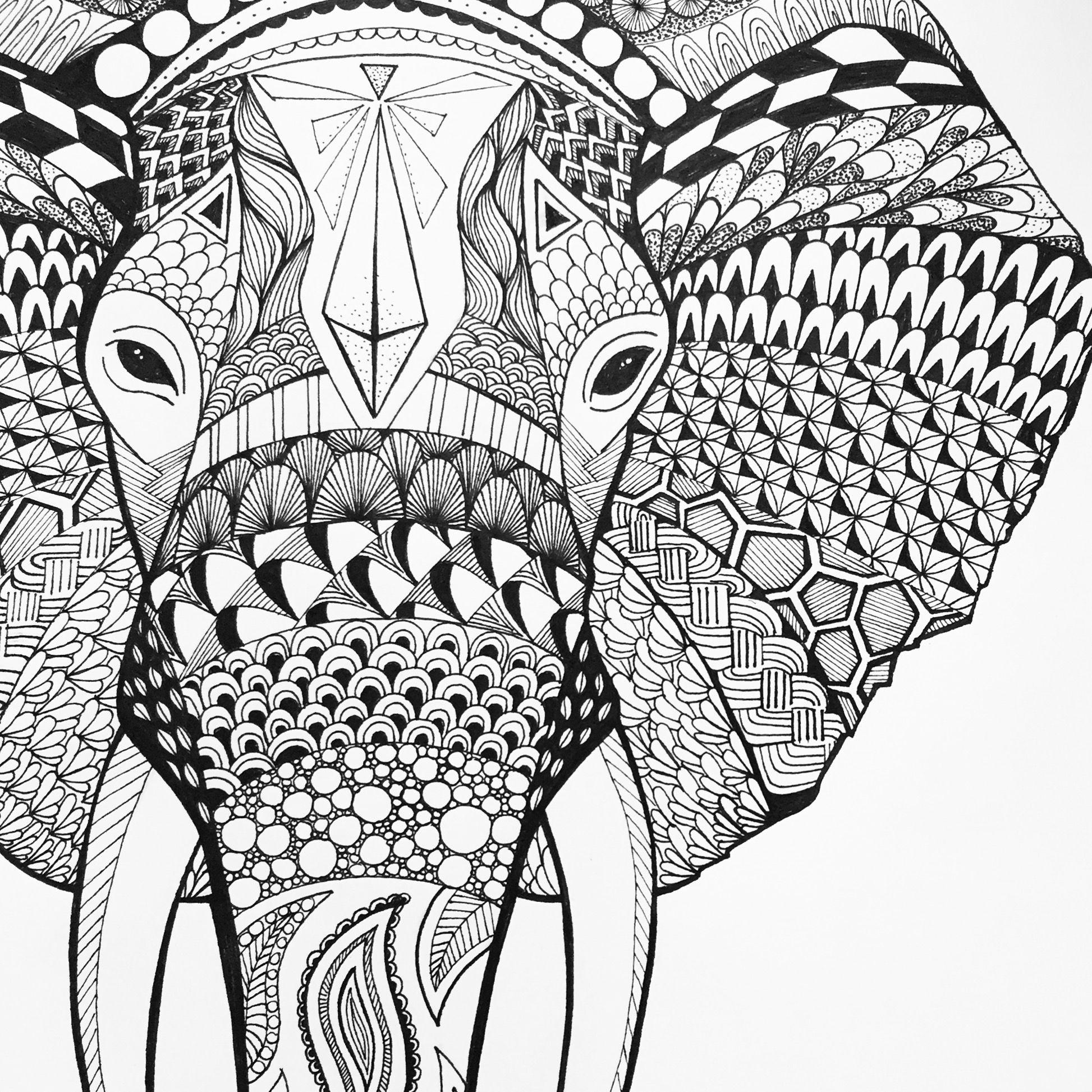 Elephant Sophiasmonster Elephant Zentangle Elefant Art