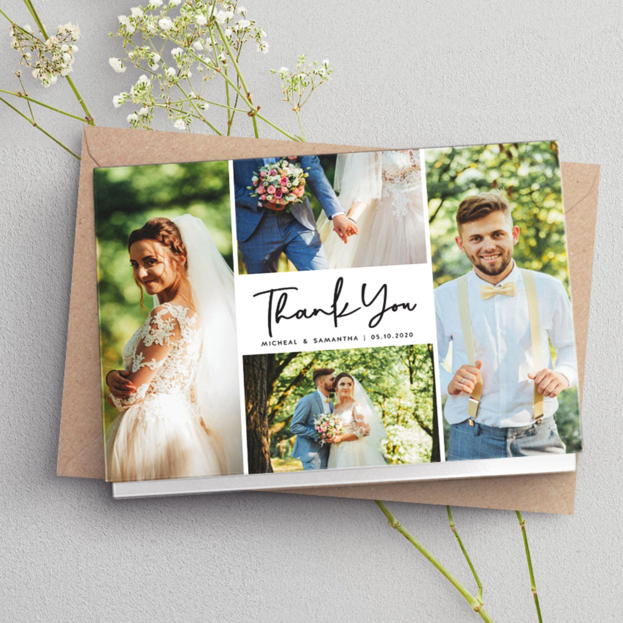 Folded Thank You Cards Wedding Thank You Card With Photo Etsy In 2020 Personalized Thank You Cards Thank You Photos Wedding Cards