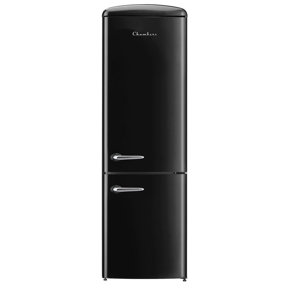 Chambers Retro 24 In 12 Cu Ft Bottom Freezer Refrigerator In Black Crbr2412 Br Bottom Freezer Refrigerator Retro Fridge Refrigerator