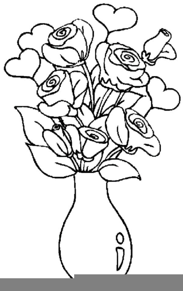 Rose and vas coloring pages to print coloring pages ideas