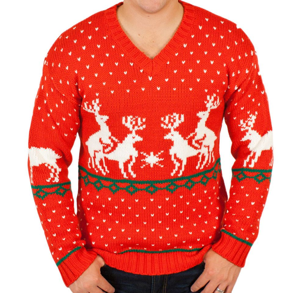 Humping Reindeer Funny Ugly Christmas Sweater in Red