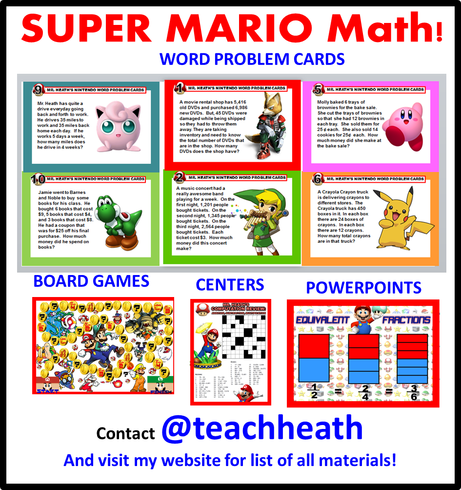 Super Mario Math Engage Excite Motivate With These Free Materials Visit My Website For More More Quick Easy Fun Math Worksheets Math Math Word Problems [ 1003 x 945 Pixel ]