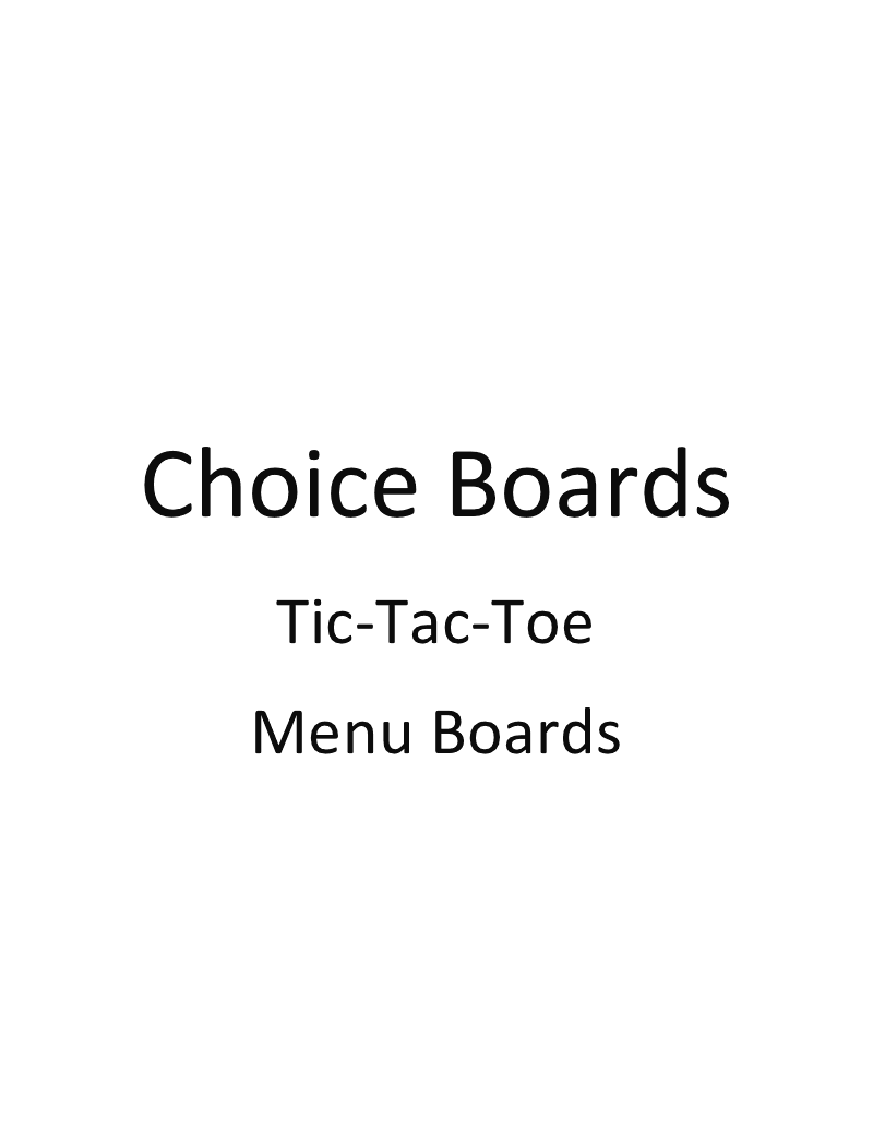 This Packet Is Titled Choice Boardstic Tac Toe Menu Boards