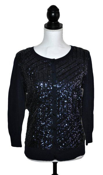 Joseph A Womens Cardigan Sweater Navy Hand Sewn Beading Sequin ...
