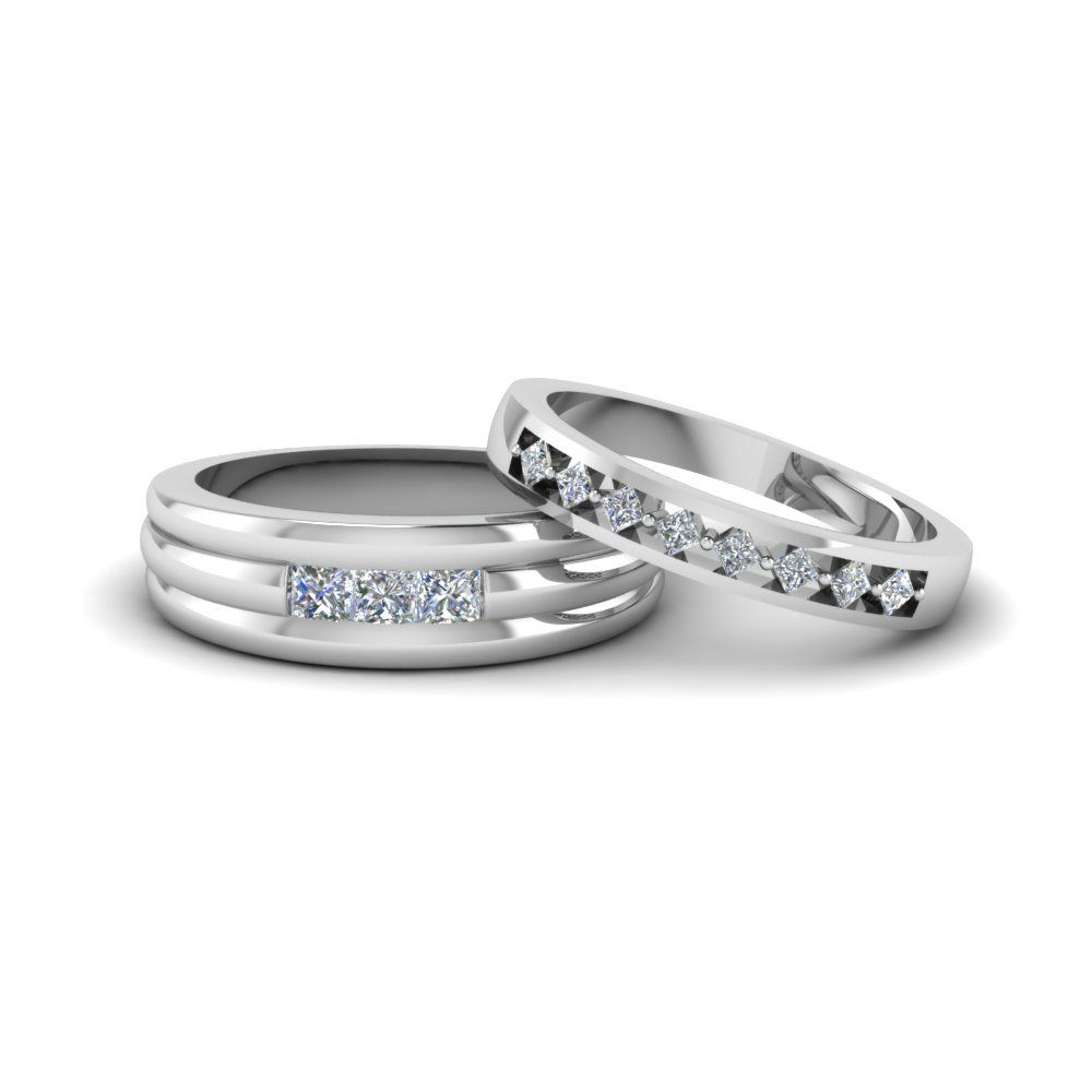 kite set matching wedding ring for him and her - Platinum Wedding Rings For Her
