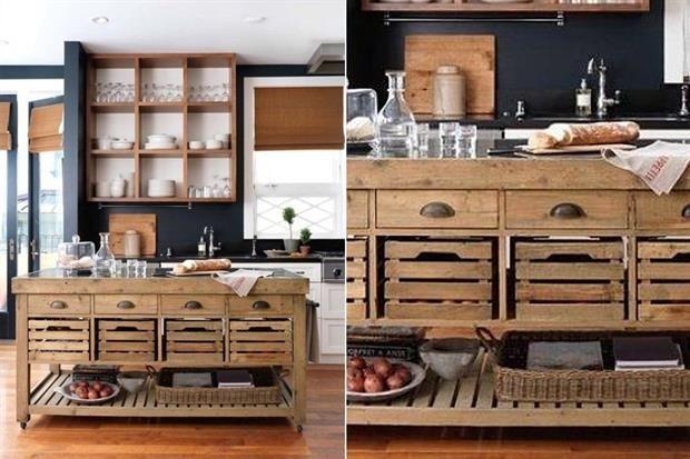 Opciones para una isla en la cocina  Una versión hecha con materiales recuperados que incluye cajones de frutas y herrajes antiguos.         Foto:Stylemepretty.com