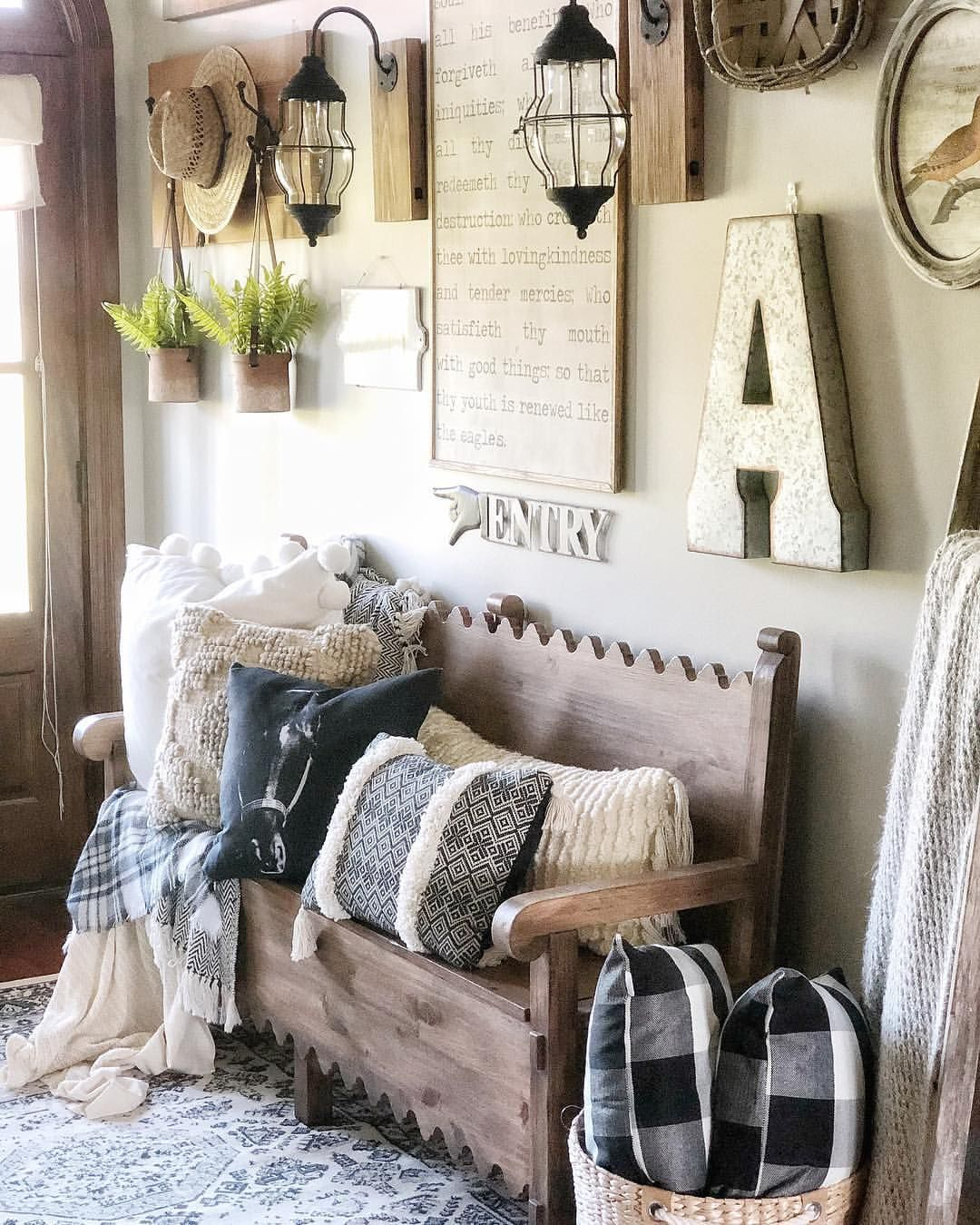 Awesome Farmhouse Entry Gallery Wall Foyer Signs Bench Caraccident5 Cool Chair Designs And Ideas Caraccident5Info