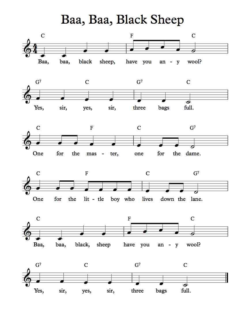 Free sheet music free lead sheet baa baa black sheep free music theory hexwebz Image collections