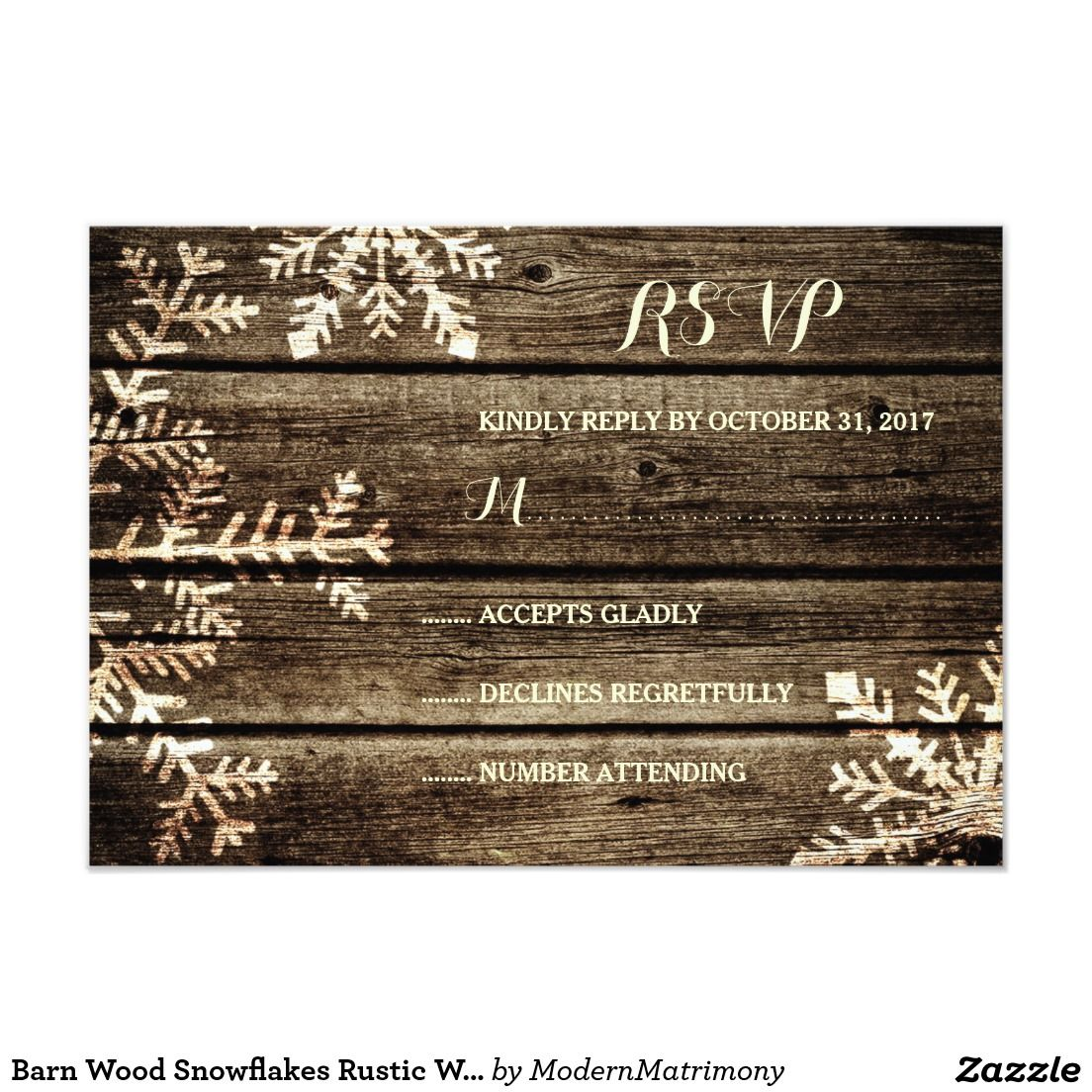 zazzle wedding invitations promo code%0A Barn Wood Snowflakes Rustic Winter Wedding RSVP Card