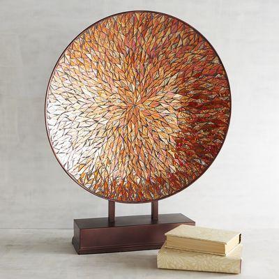 Orange Mosaic Decorative Platter With Stand Pier 1 Imports