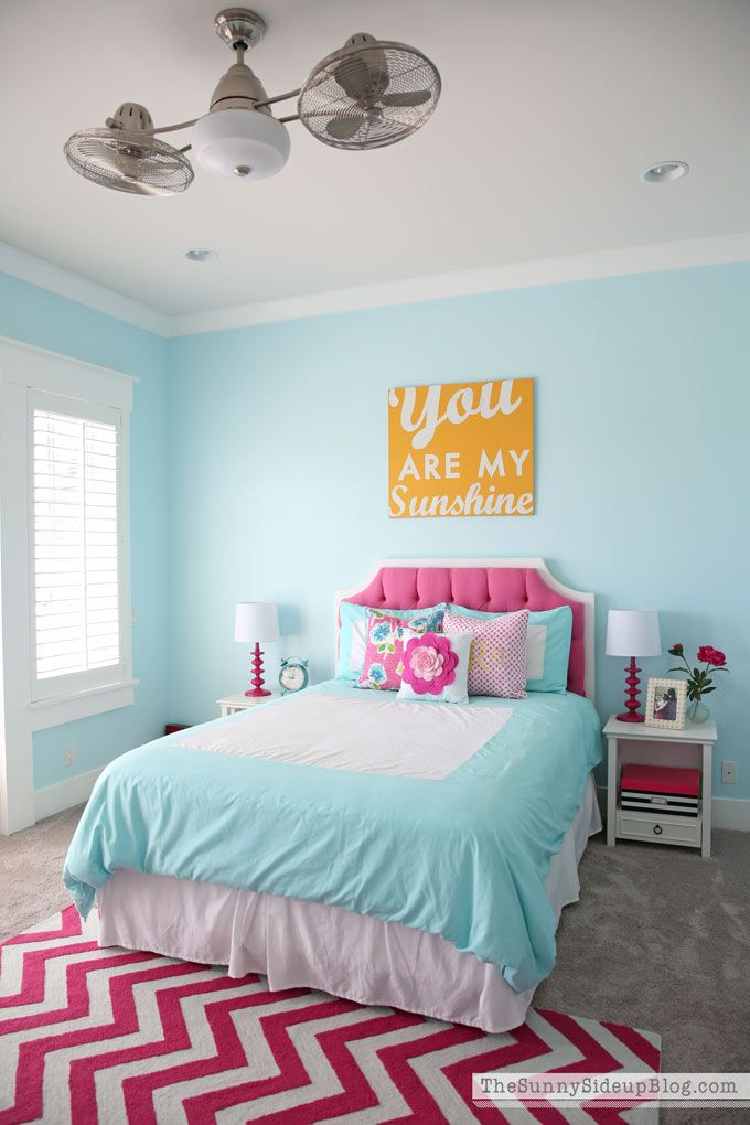 So Excited To Finally Share My Daughter S Pink And Aqua Blue Bedroom With You All Today It A Work In Progress But She Loves Far