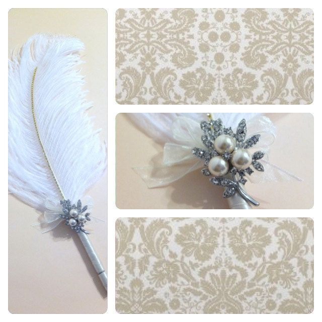 Large Ostrich Feather Pen With Pearl Brooch Ivory Feather Pen