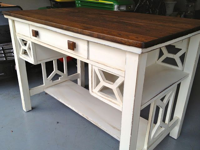 Custom project - desk refinished with a walnut planked top, and Old White base.