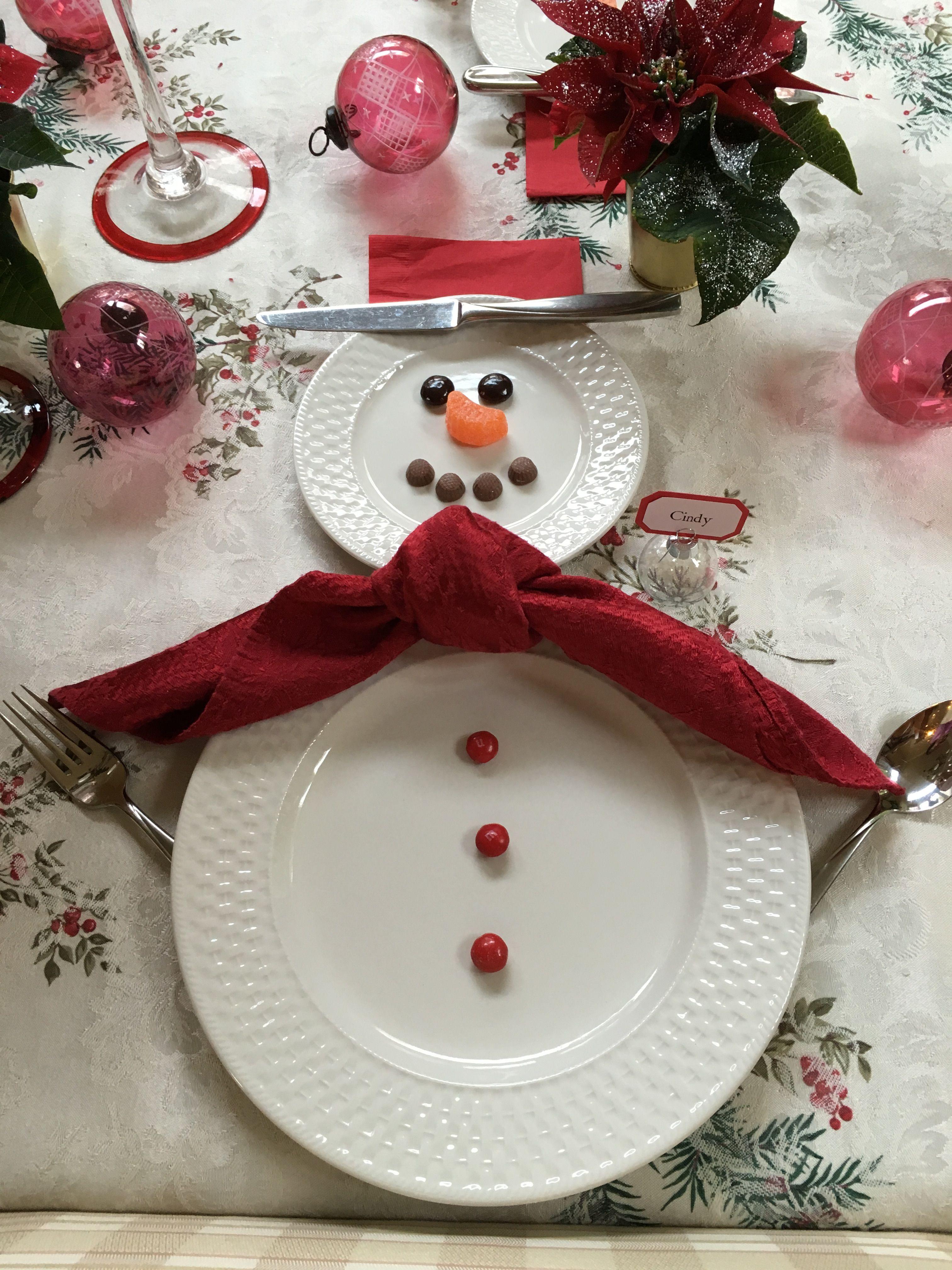 Snowman Table Setting Holiday Decor Christmas Diy Holiday Table Decorations Holiday Season Christmas