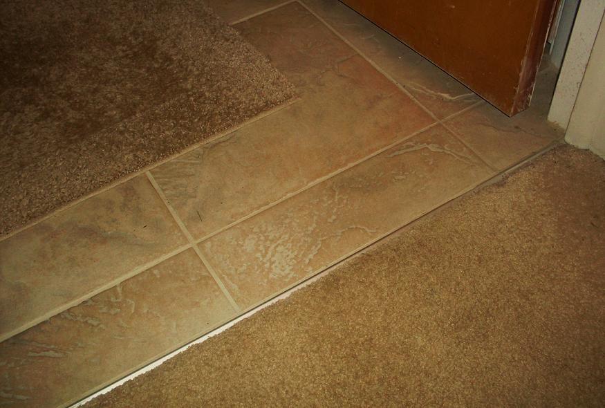 Carpet With Vinyl Tile Border Lrh Entry Tiles Kitchen