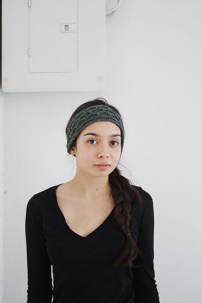 trellis recycled knit headband juniper