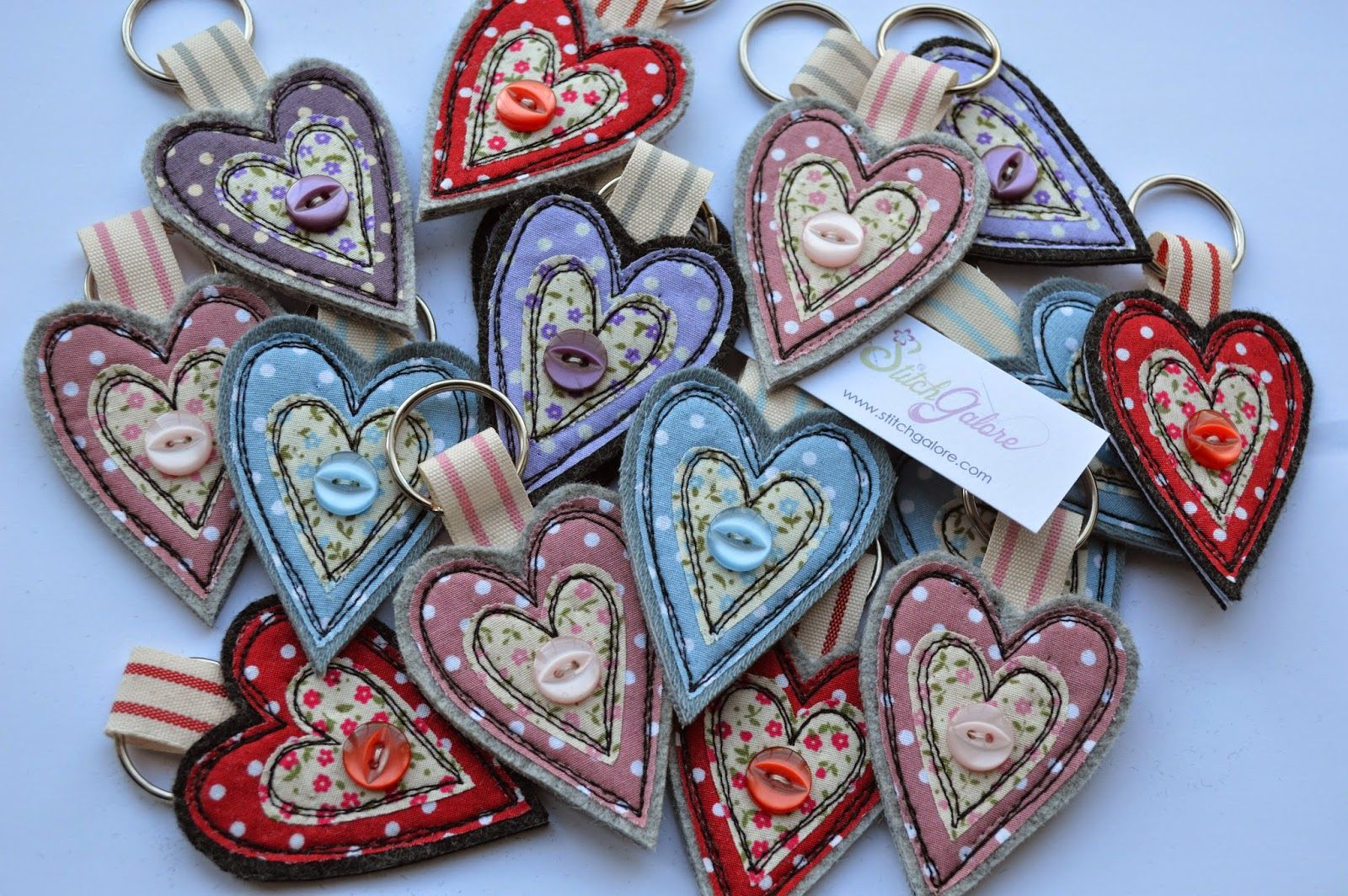 Handmade key rings decorated with freehand machine embroidery. www.stitchgalore.com