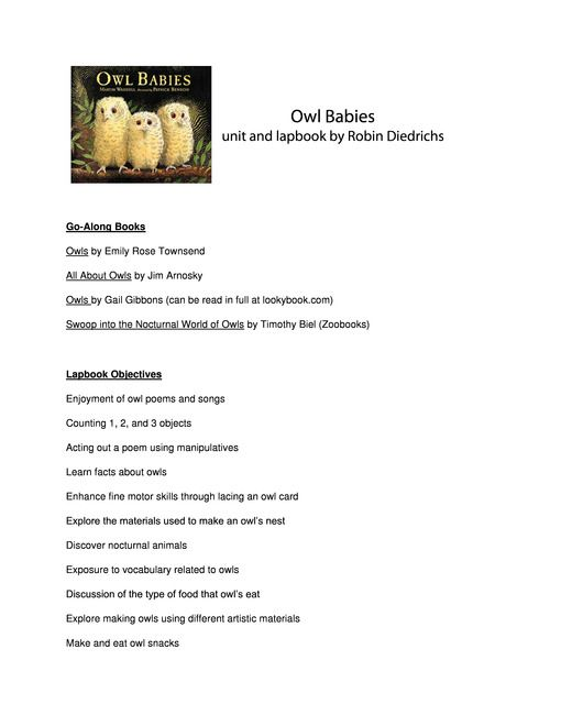 Free Owl Babies Lesson Plans And Lapbook Baby Owls Lapbook Owls Lessons