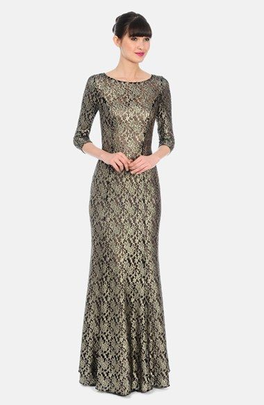 Kay Unger Metallic Lace Trumpet Gown available at #Nordstrom ...