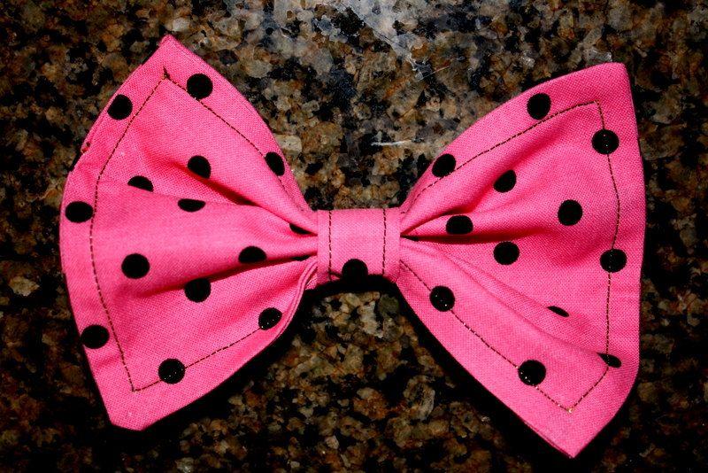 Pink and Black Polka Dots Hair Bow - Free Shipping. $7.50, via Etsy.