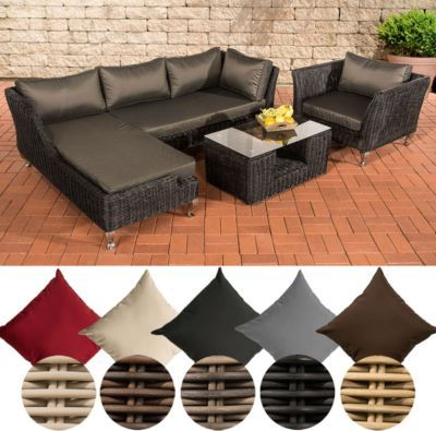 Poly-Rattan Lounge Set MOSS, 5 mm RUND-Geflecht, 4 Sitzplätze, mit - gartenmobel lounge rund