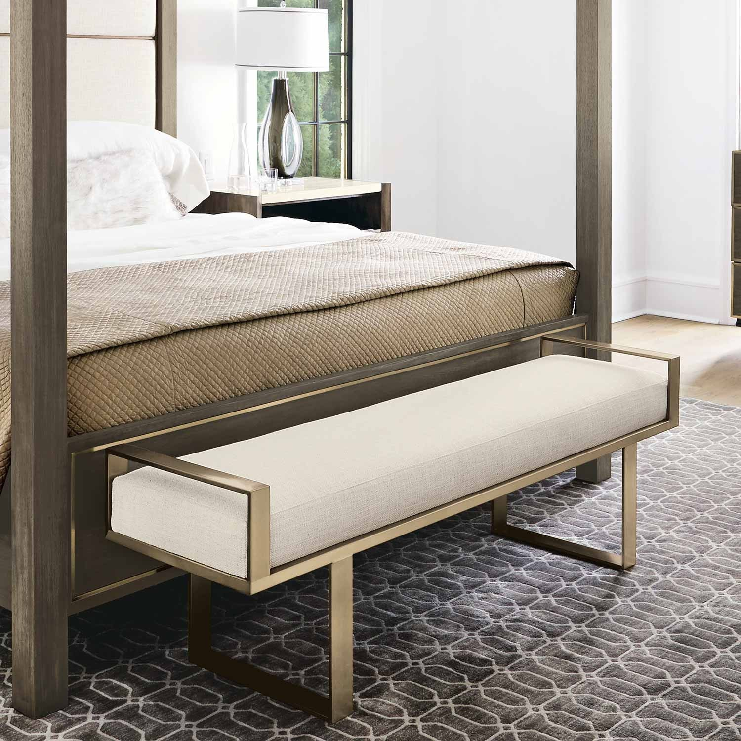 Profile Stainless Steel Fabric Upholstered Bed Bench In Tapestry