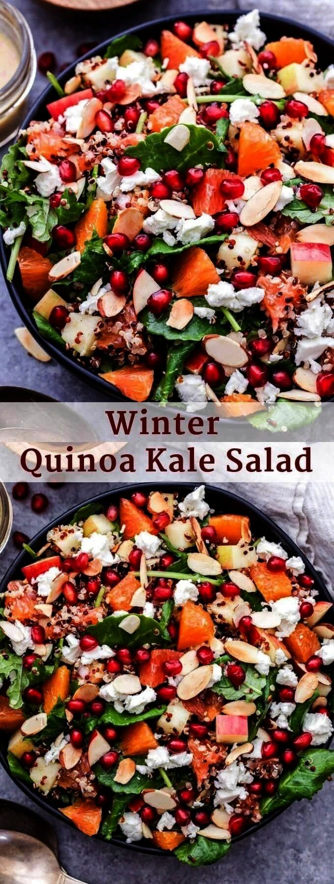 Salad - Recipe Runner This Winter Quinoa Kale Salad is full of winter produce, hearty quinoa and pe