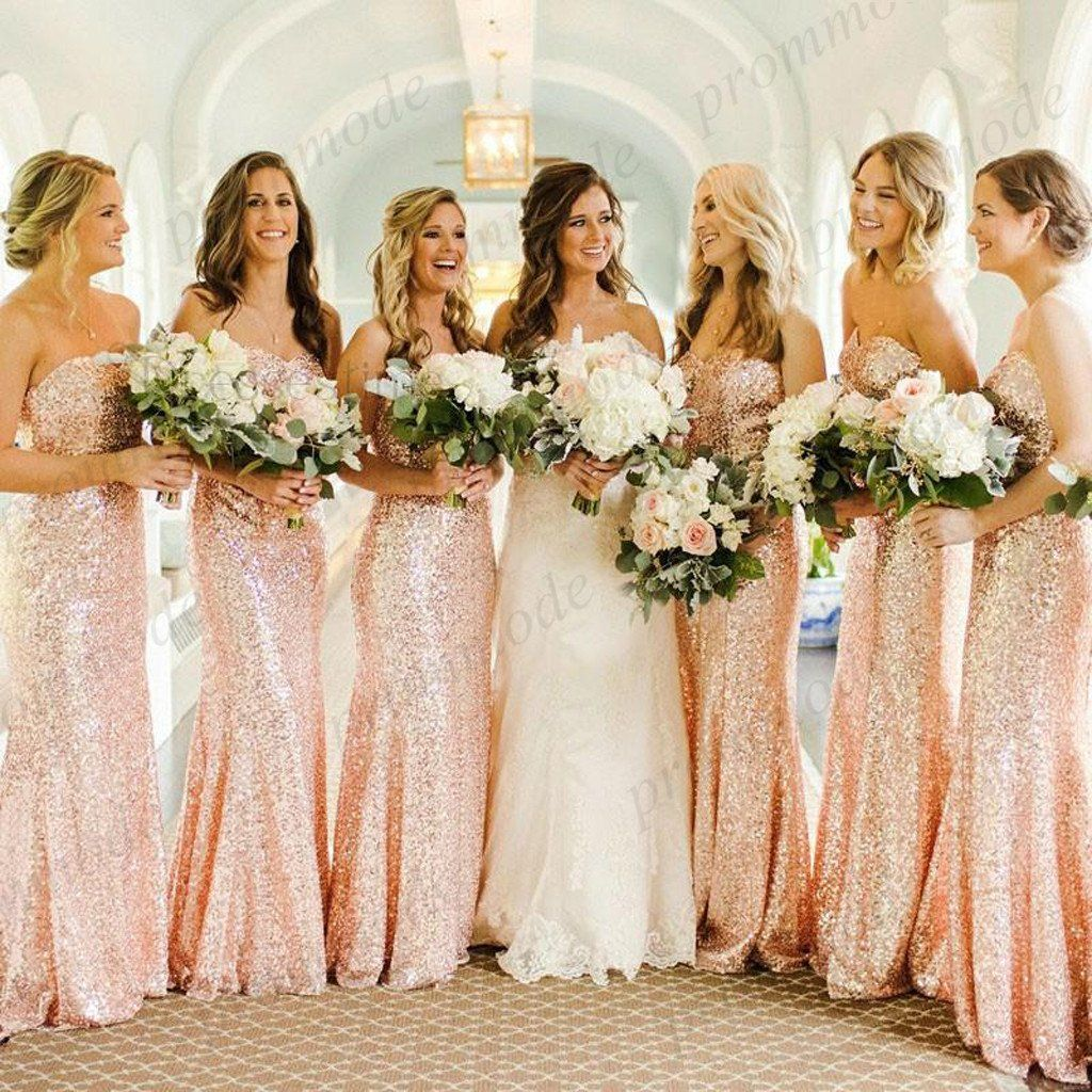 Cheap rose gold sequin mermaid long bridesmaid dresseswedding party