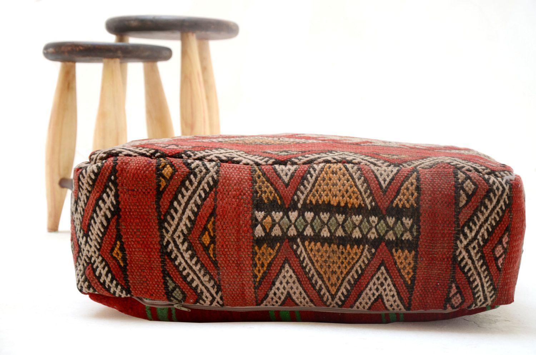 tribal pillow ottoman kilim pouf  square pouf ottoman pillow moroccanpillow handmade kelim kilim. tribal pillow ottoman kilim pouf  square pouf ottoman pillow