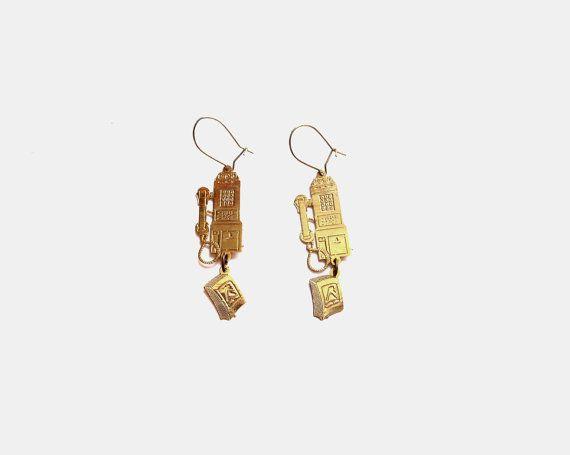 Pay Phone Pierced Earrings, Gold Telephone / Book