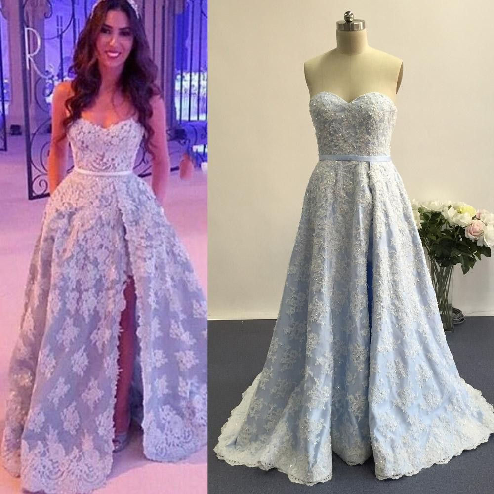 Blue sweetheart side split applique long lace prom dresses pm