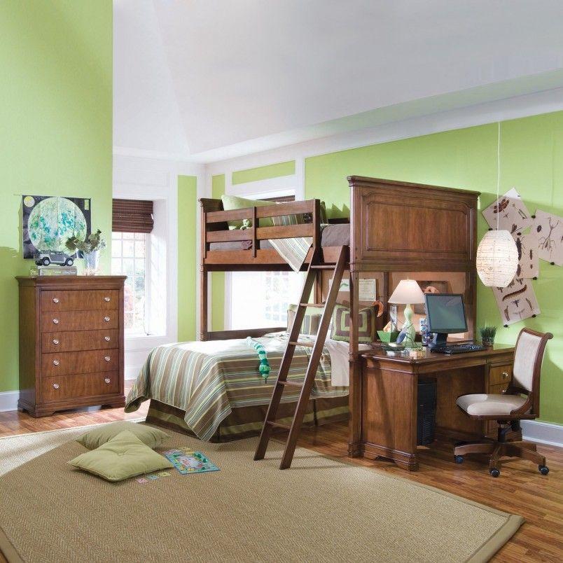 bunk bed wood lime green Bedroom setup, Loft bed desk